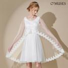 OMUSES 兩件式伴娘婚紗白色短禮服