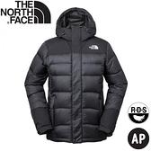 【The North Face 男 防潑水羽絨連帽外套《黑》】3RKB/羽絨外套/連帽外套/保暖外套