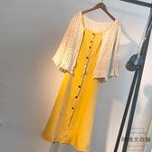 大碼女裝顯瘦遮肚連身裙夏外套兩件套裝【時尚大衣櫥】