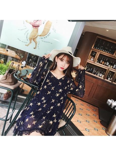 FINDSENSE G5 韓國時尚 夏季 黃色 露背 碎花 雪纺 連身裙