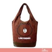 imitu 【LINE FRIENDS】MIT 俏麗背袋(A款_咖_無辜熊大)