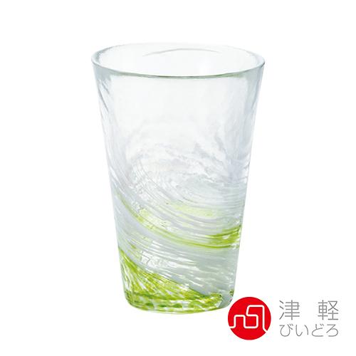 日本津輕 漩渦玻璃飲料杯300ml-綠