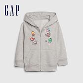 Gap男幼童 Gap x Marvel 漫威系列卡通印花連帽外套 551238-淺石楠灰