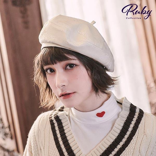 帽子 法式蕾絲皮質貝雷帽-Ruby s 露比午茶