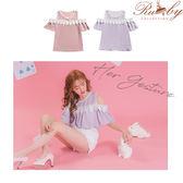 上衣 露肩鉤花蕾絲短袖上衣-紫-Ruby s露比午茶