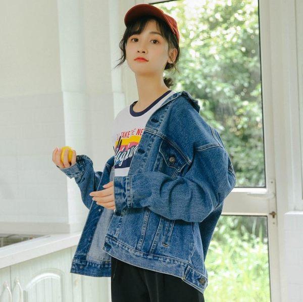 牛仔外套女秋新品免運大尺碼女裝正韓chic寬鬆學生bf風刺繡短版外套