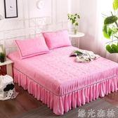 床裙 水洗棉床裙式單件純色加厚夾棉床套防滑床單床罩 綠光森林