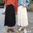 蕾絲半身裙 新款白色百褶裙中長款女裙子ins超仙學生韓版高腰a字裙半身裙 618大促銷