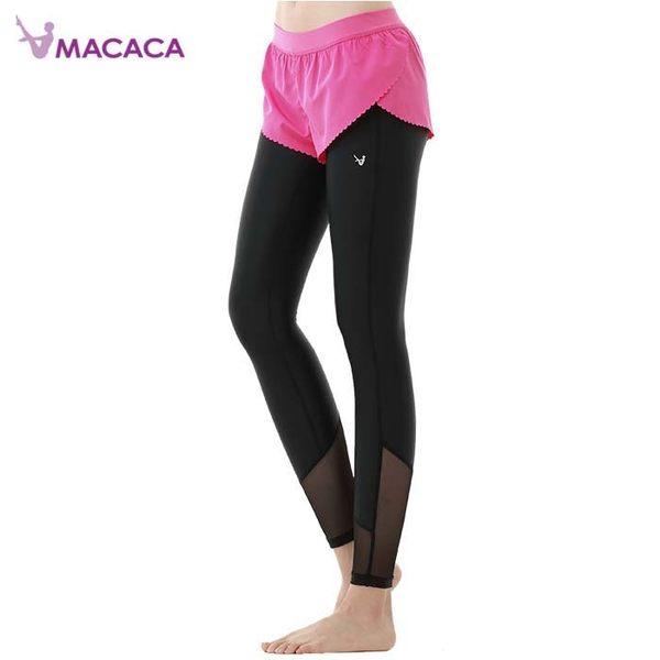 【MACACA】自由概念2in1短長褲- AXG7192(黑/亮粉紅) (瑜伽/韻律/休閒)