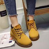 男女款防水牛皮黃色大黃靴馬丁靴踢不爛圓頭短工裝靴 糖果時尚