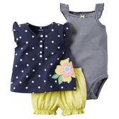 3件組肩帶連身裙+包屁褲套裝組: 點點小花: 121G388