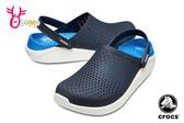Crocs卡駱馳 洞洞鞋 成人男女款 LiteRide 園丁鞋 防水布希鞋 A1707#藍色◆OSOME奧森鞋業