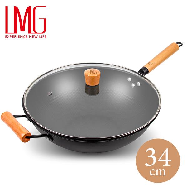 /贈木鏟/【LMG】長野不沾熟鐵鍋(附玻璃鍋蓋)-34CM