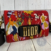 BRAND楓月 Christian Dior 迪奧 刺繡圖騰JADIOR包 紅色南洋風 金色LOGO 斜背包 側背包