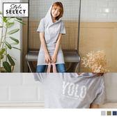 《KG0215-》字母設計燙印飛鼠口袋高含棉連帽長版上衣 OB嚴選