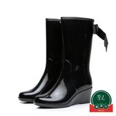 現貨 雨鞋女中筒拉鏈坡跟雨靴高跟成人水鞋防滑保暖【福喜行】