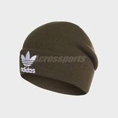 adidas 毛帽 Trefoil Beanie 墨綠 白 三葉草 帽子 男女款 【PUMP306】 DH4298