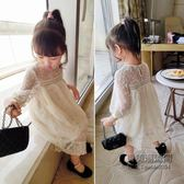 女寶寶繡花連身裙兒童柔軟蕾絲中袖公主裙長裙款中小童