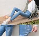 高腰彈力率性刷破潑漆造型窄管褲 Oran...
