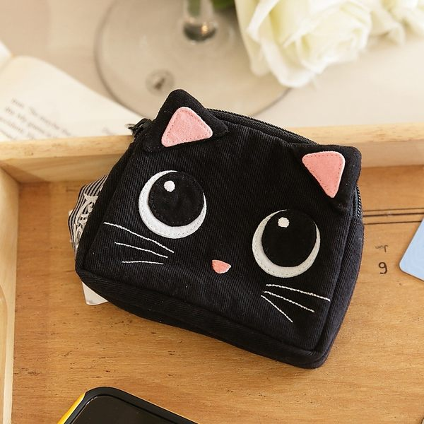 Kiro貓‧小黑貓雙層零錢包/卡片收納包/3C收納包【222019】