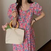 印花洋裝 長裙 韓版復古油畫風格印花 泡泡袖 連身裙跨107-A.依品國際