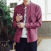 春秋中國風唐裝亞麻長袖襯衫男士棉麻中式盤扣立領漢服襯衣男外套 瑪麗蘇