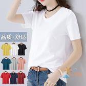 素T夏裝白色T恤女短袖寬鬆大尺碼正韓體恤純棉純色半袖上衣【下標選換運送可超取】