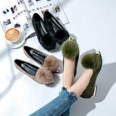毛毛鞋女秋冬季 新款韓國百搭尖頭帶加絨的平底舒適淺口單鞋女 快速出貨