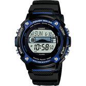 CASIO 卡西歐 Solar 太陽能潮汐顯示手錶-黑x藍 W-S210H-1A / W-S210H-1AVDF