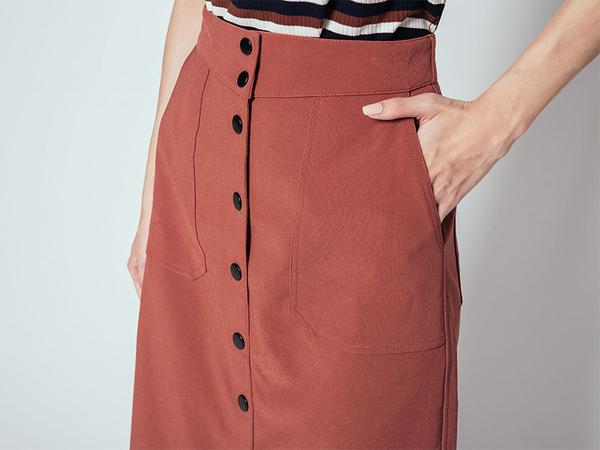 秋冬下殺↘5折[H2O]超顯瘦直筒前開襟彈性長裙 - 紅/綠/黑色 #9652002
