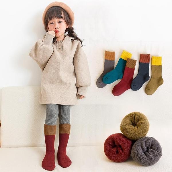 兒童襪子秋冬季純棉毛圈毛巾襪女童堆堆男童中長筒襪