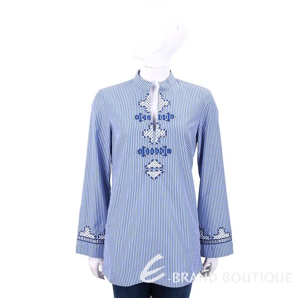 TORY BURCH Embellished 刺繡圖騰藍白條紋襯衫 1820520-77