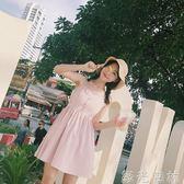 洋裝 韓版性感露肩吊帶洋裝女夏學生短款A字裙裙子 綠光森林