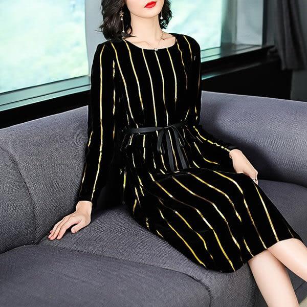 絲絨金蔥直條洋裝