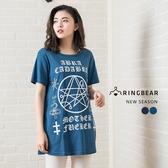 長版T--個性搖滾哥德女孩風棉質短袖長版上衣(黑.藍XL-5L)-T232眼圈熊中大尺碼
