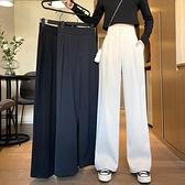 闊腿褲女高腰垂感顯瘦百搭直筒寬松拖地休閒西裝褲【桃可可服飾】