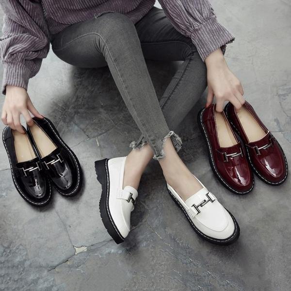 英倫風小皮鞋 韓版一腳蹬平底休閒樂福鞋【多多鞋包店】z3422