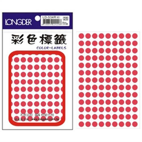 【龍德 LONGDER】LD-534-R 螢光紅 圓標籤 8mm/936pcs(20包/盒)