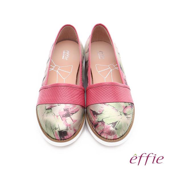 effie 休閒摩登 壓紋真皮閃色印刷布休閒鞋  桃粉紅