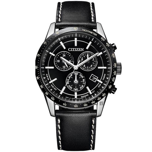 台灣限量50只 CITIZEN 星辰 萬年曆計時手錶-黑/39.5mm(BL5496-11E)