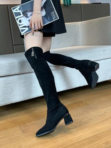 彈力過膝靴女2020新款襪靴網紅百搭粗跟瘦瘦靴子時尚顯腿長高筒靴