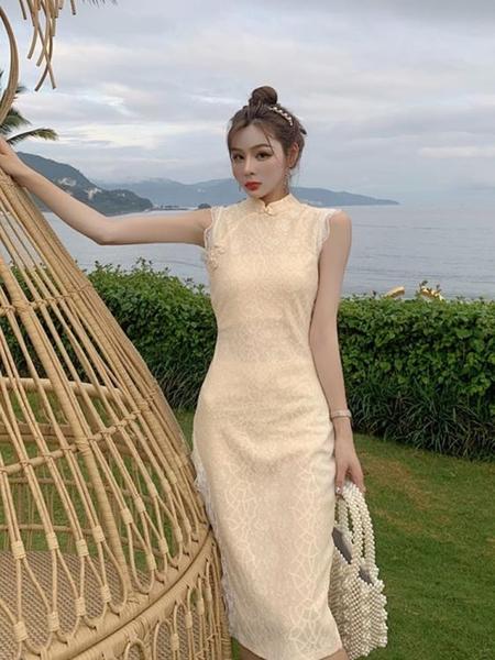 氣質旗袍 改良式版長款時尚開叉蕾絲黑色旗袍洋裝夏季氣質禮服年輕款少女 超值價