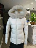【雪曼國際精品】PARDA 名牌羽絨天然藍狐狸毛連帽拉鍊外套~二手商品9.3成新(珍珠白色)