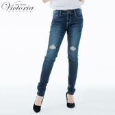 Victoria 低腰特彈個性刺繡窄管褲-女-VW2321