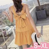 連身裙-S-XL夏季甜美無袖蝴蝶結純色百搭連身裙Kiwi Shop奇異果0712【SZZ9339】