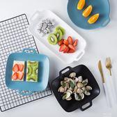 餐盤創意陶瓷盤子 北歐不規則烤盤西餐盤家用餐具雙耳菜盤飯盤餐盤 伊莎公主