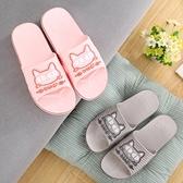 浴室拖鞋  新款情侶夏季拖鞋可愛卡通貓咪涼拖鞋男女居家防滑