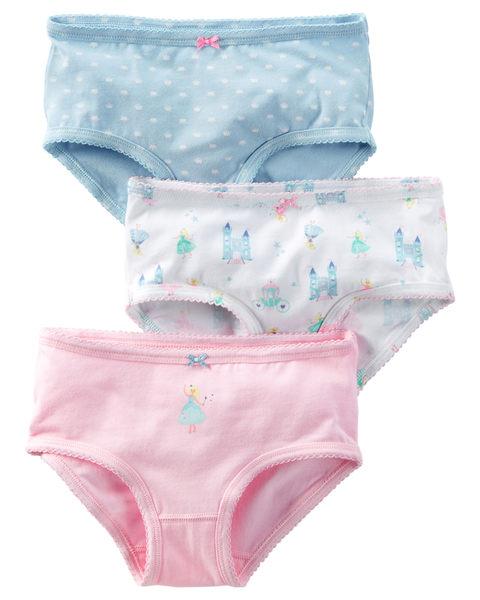 【美國Carter's】女童小內褲三件組 - 夢幻城堡公主系列 D31G132