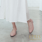 現貨 圓頭低跟娃娃鞋推薦 全真皮舒適好穿跟鞋 大尺碼鞋 版型偏大 20.5-26 EPRIS艾佩絲-桃粉色