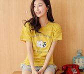 睡衣女夏季純棉短袖兩件套裝韓版寬鬆女士夏天可外穿少女 【新品特惠】